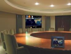 Drive large boardroom LCD or Plasma displays from the WeatherFrame desktop unit.